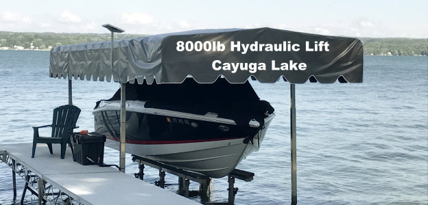 Picture of an 8000 pound hydraulic lift on Cayuga Lake