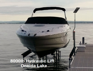 PIcture of an 8000 pound hydraulic lift on Oneida Lake
