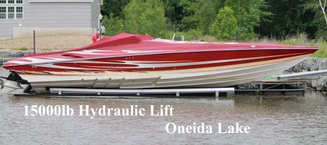 Picture of a 15000 pound hydraulic lift on Oneida Lake